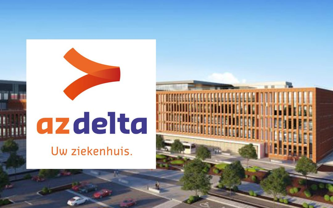 AZ Delta Roeselare first hospital with signage panel eMED NODE